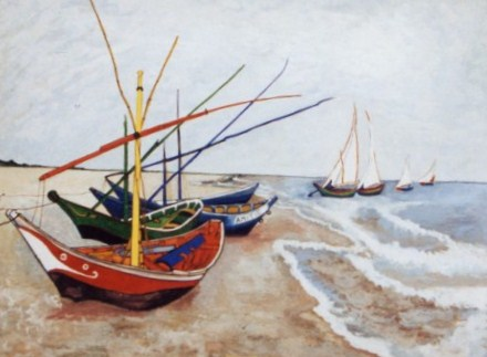 504 - Fishingboats on the beach in France 9tribute to Van Gogh).  N.Hoogenboom Jr. [30x25]